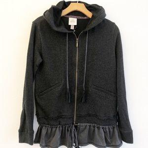 NWT KNOX ROSE Hooded Front Zip Peplum Hem Jacket